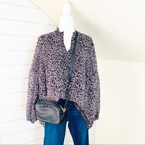 Lane Bryant burgundy floral long sleeve top 16